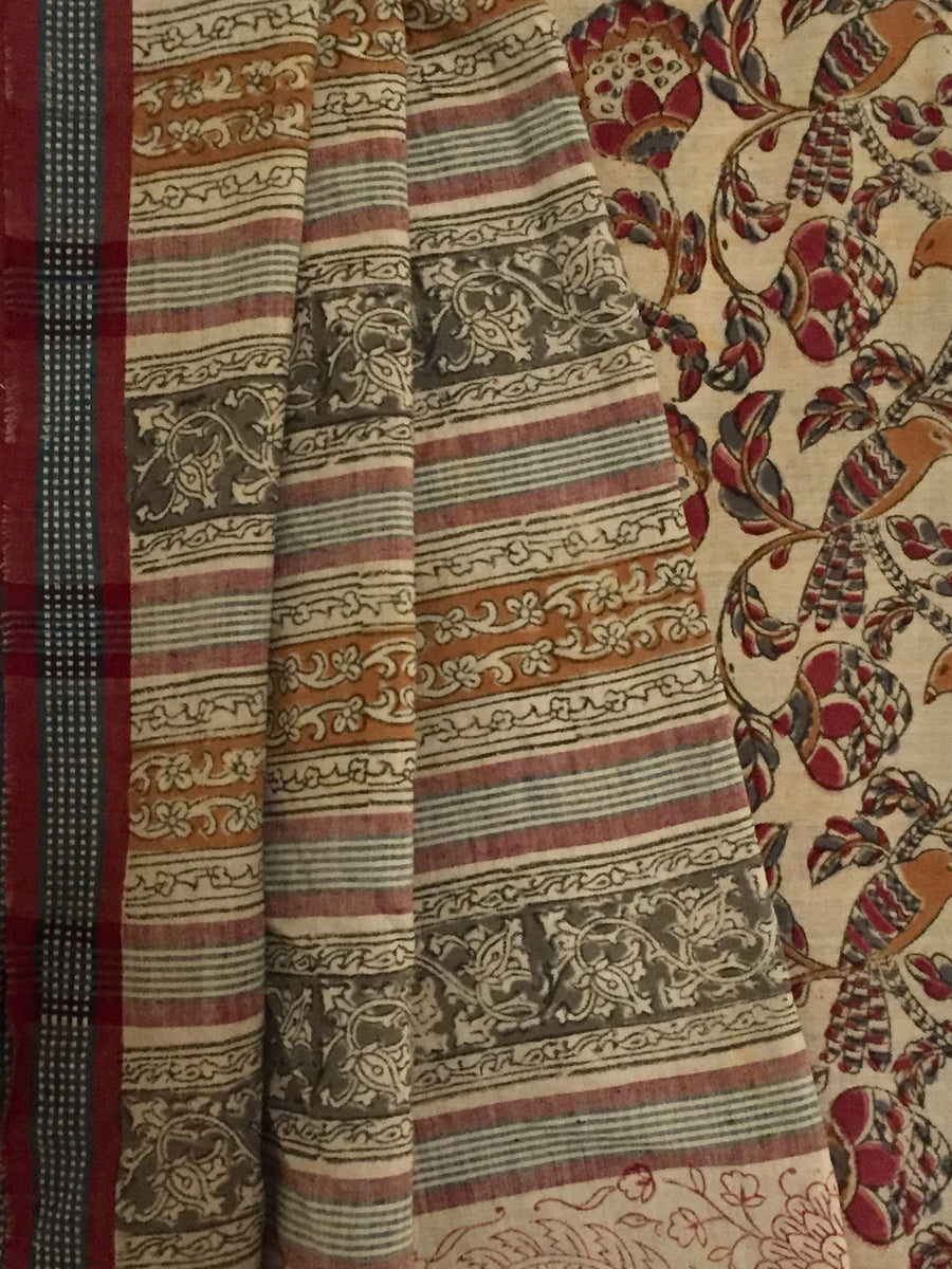 KALAMKARI SAREE : ALIZARIN RED : ANAR YELLOW : MEHNDI GREEN