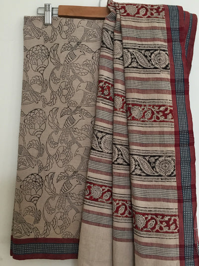 KALAMKARI SAREE : KORA : BLACK : ALIZARIN RED