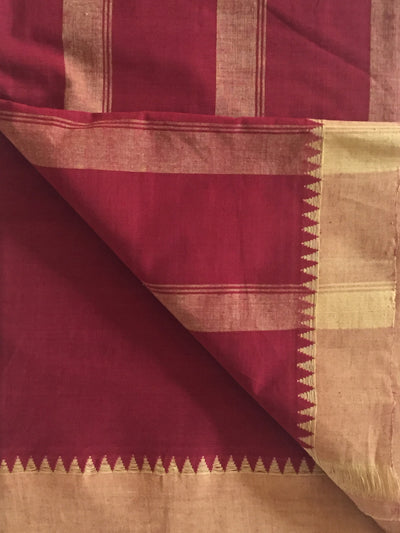 SOLID SAREE : ALIZARIN RED : ANAR YELLOW