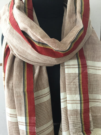 CROSS COLOUR DUPATTA : KORA : KATHA BROWN
