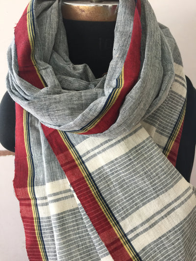 CROSS COLOUR DUPATTA : KORA : DARK INDIGO