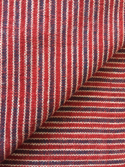 GEOMETRIC FABRIC : DARK INDIGO : ALIZARIN RED : KORA