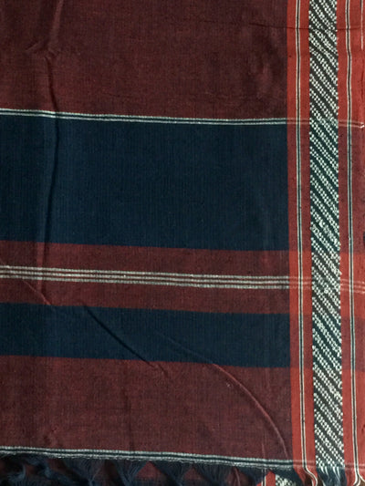 LIGHTWEIGHT CROSS COLOUR DUPATTA : DARK INDIGO : ALIZARIN RED