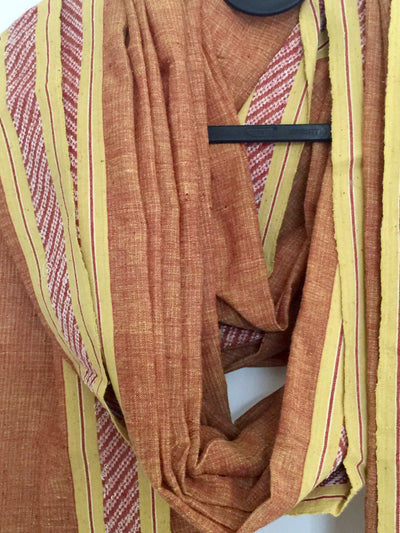 LIGHTWEIGHT CROSS COLOUR DUPATTA : ANAR YELLOW : ALIZARIN RED