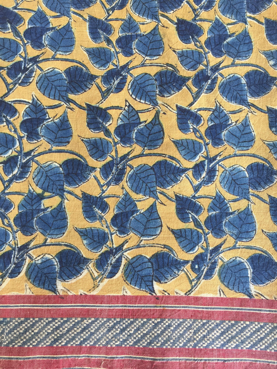 Malkha Natural Dyed Handlooms -KALAMKARI SAREE : ANAR YELLOW : DARK INDIGO