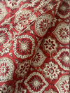 AJRAKH FABRIC : ALIZARIN RED : KATHA BROWN : KORA
