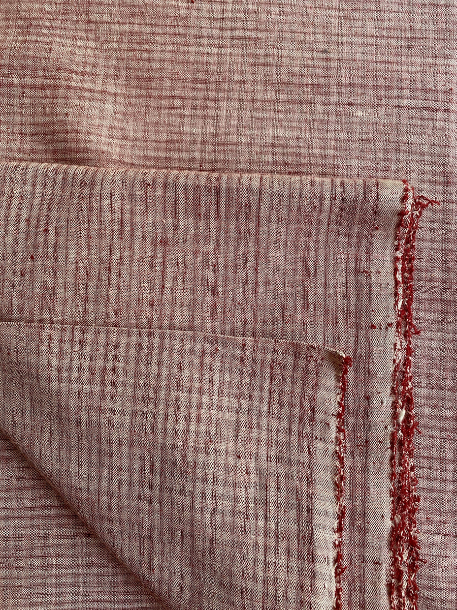 GEOMETRIC DOUBLE-WEFT FABRIC : KORA : ALIZARIN RED