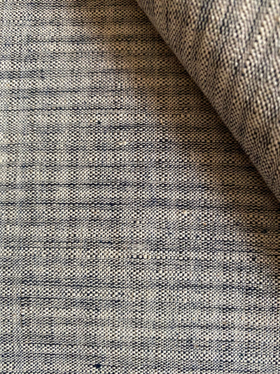 GEOMETRIC DOUBLE-WEFT FABRIC : KORA : DARK INDIGO