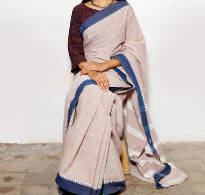 CROSS COLOUR SAREE : KATHA BROWN : KORA