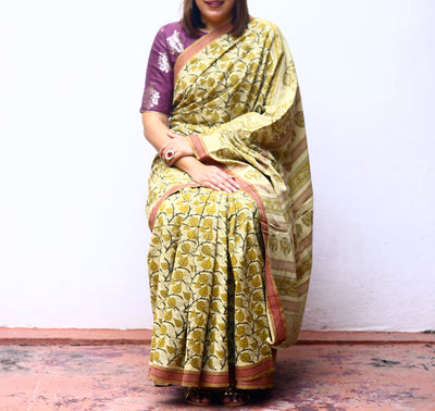 KALAMKARI SAREE : KORA : ANAR YELLOW : MEHNDI GREEN