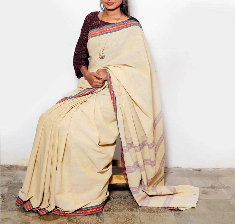 CROSS COLOUR SAREE : KORA : ANAR YELLOW