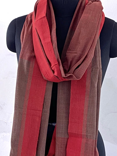 LIGHTWEIGHT CROSS COLOUR DUPATTA : ANAR GREEN : ALIZARIN RED