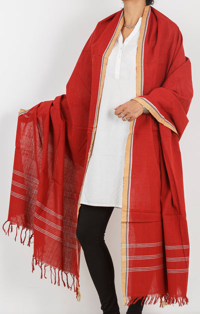Malkha Natural Dyed Handlooms -SOLID DUPATTA : ALIZARIN RED