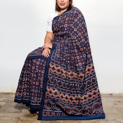 AJRAKH SAREE : DARK INDIGO : ALIZARIN RED : KORA