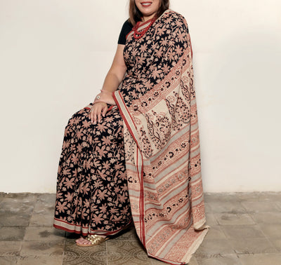 KALAMKARI SAREE : BLACK : ALIZARIN RED