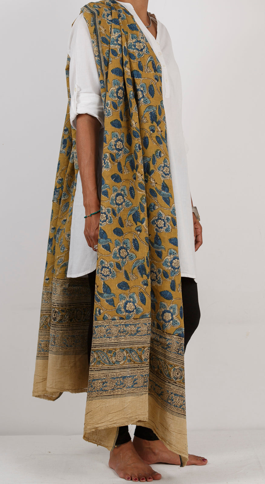 Malkha Natural Dyed Handlooms -KALAMKARI DUPATTA : ANAR YELLOW : DARK INDIGO : BLACK