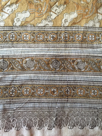 KALAMKARI DUPATTA : ANAR YELLOW : LIGHT MEHNDI GREEN