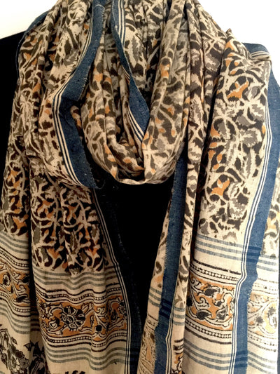KALAMKARI DUPATTA : ANAR YELLOW : DARK MEHNDI GREEN : LIGHT MEHNDI GREEN