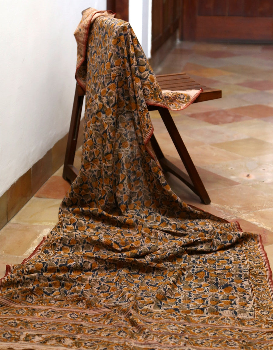 Malkha Natural Dyed Handlooms -KALAMKARI DUPATTA : DARK INDIGO : ANAR YELLOW : ANAR GREEN