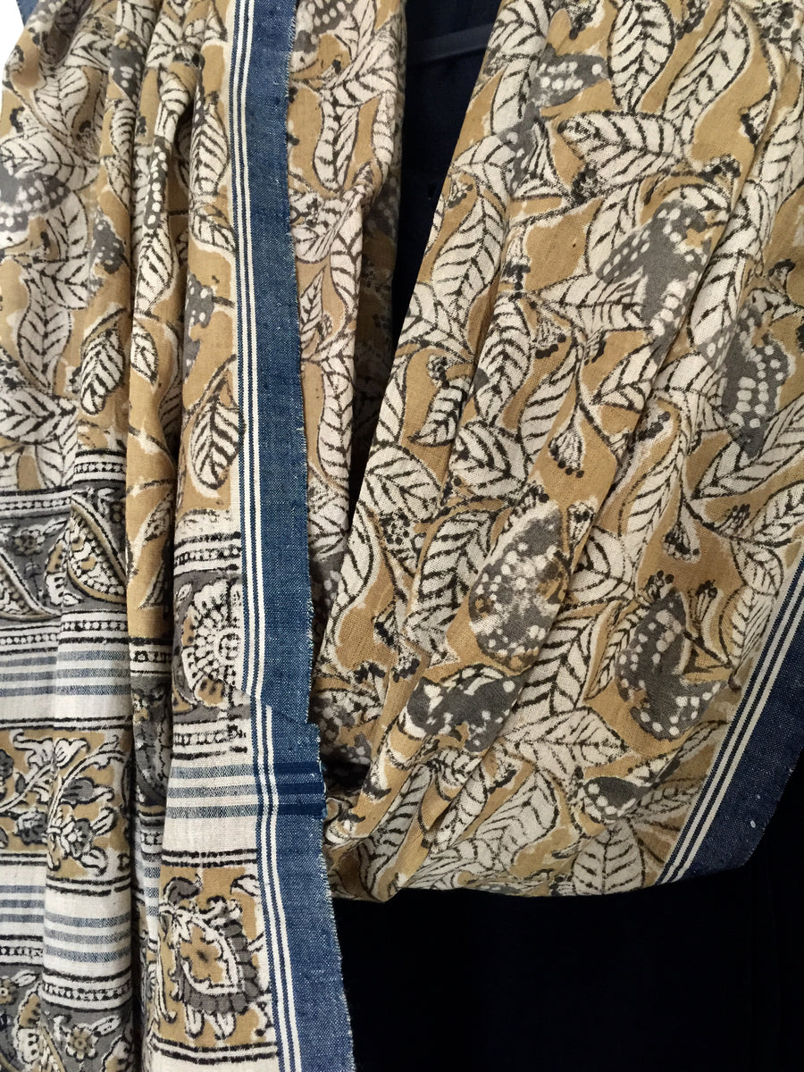 KALAMKARI DUPATTA : ANAR YELLOW : LIGHT MEHNDI GREEN : KORA