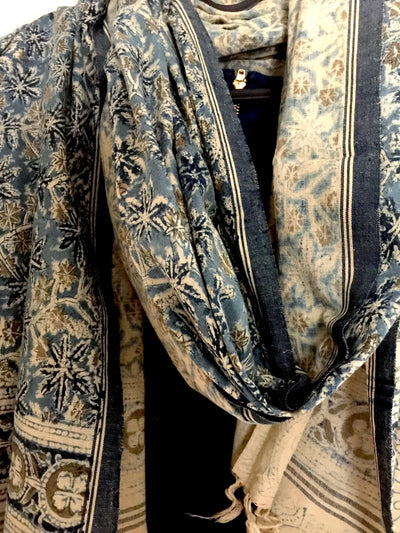 KALAMKARI DUPATTA : DARK INDIGO : LIGHT INDIGO : CEMENT GRAY