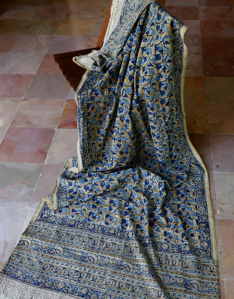 Malkha Natural Dyed Handlooms -KALAMKARI DUPATTA : ANAR YELLOW : DARK INDIGO