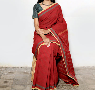 SOLID SAREE : ALIZARIN RED : ANAR GREEN