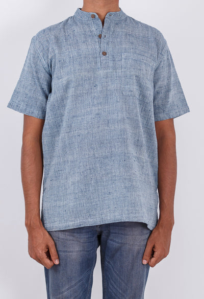 Malkha Natural Dyed Handlooms -CROSS COLOUR KURTA : INDIGO : KORA : SHORT SLEEVE