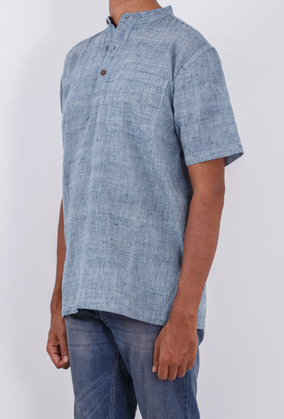 CROSS COLOUR KURTA : INDIGO : KORA : SHORT SLEEVE