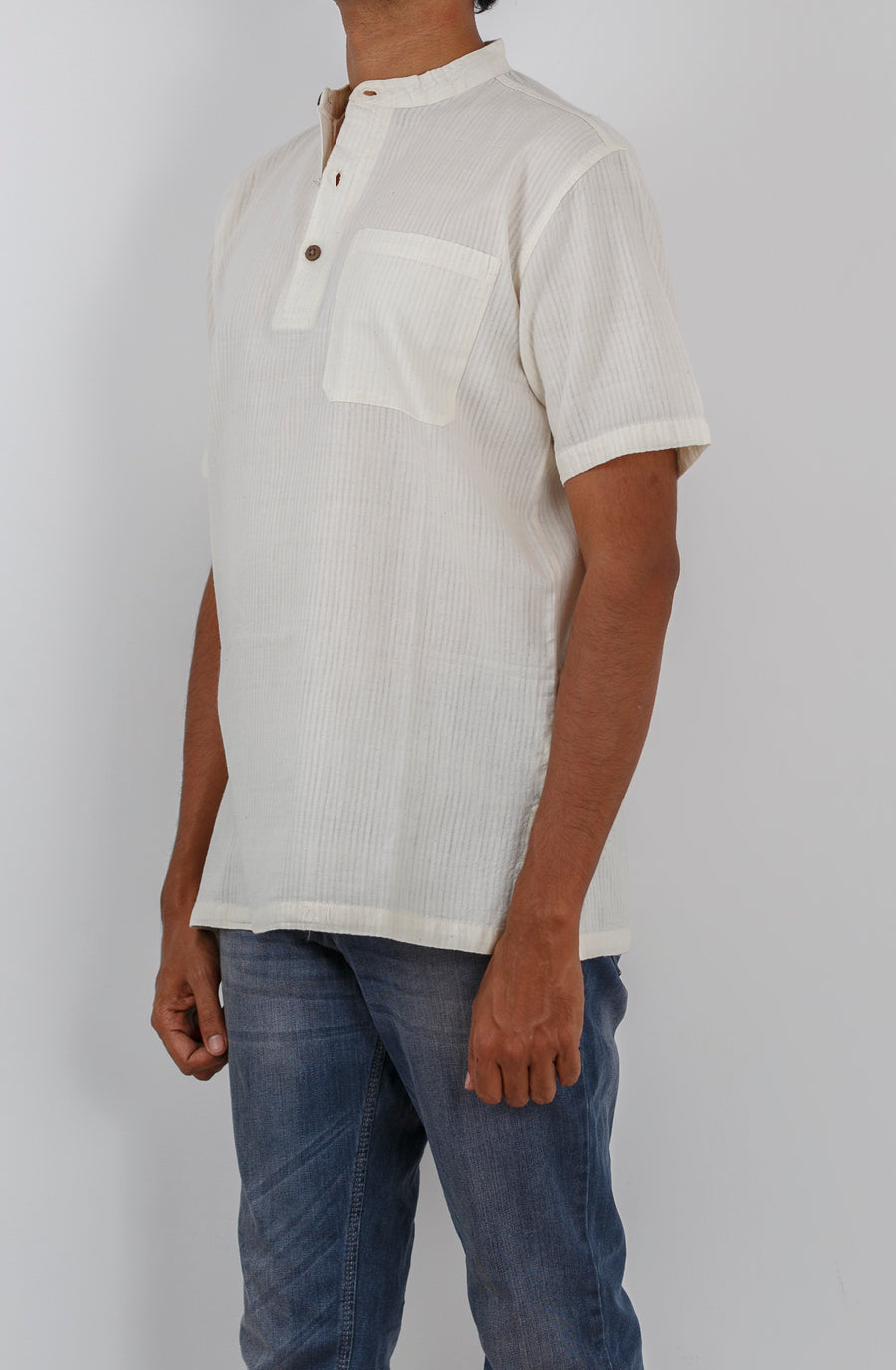 Malkha Natural Dyed Handlooms -SOLID KURTA : KORA : SHORT SLEEVE