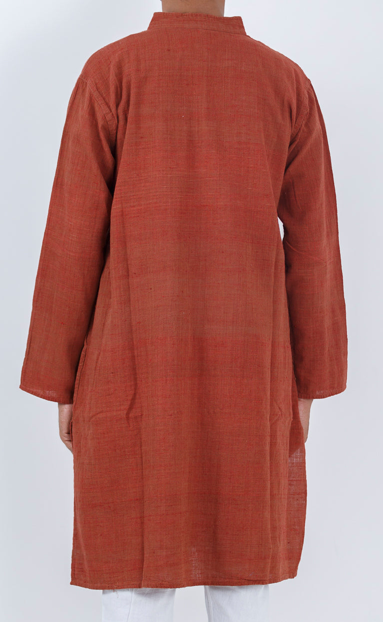 Malkha Natural Dyed Handlooms -SOLID KURTA : ALIZARIN RED : LONG SLEEVE