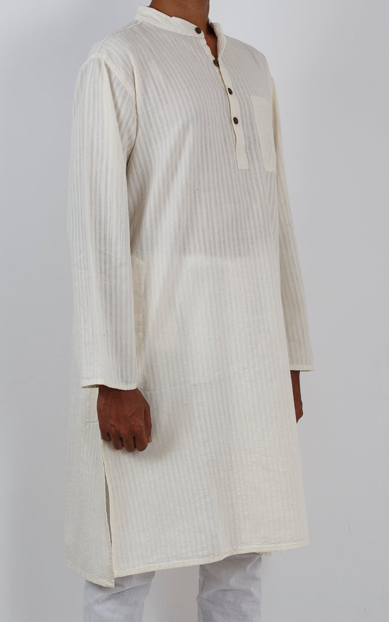 Malkha Natural Dyed Handlooms -GEOMETRIC KURTA : KORA : LONG SLEEVE