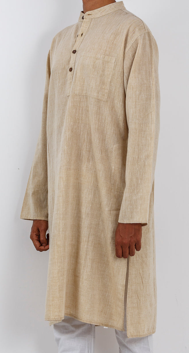 Malkha Natural Dyed Handlooms -CROSS COLOUR KURTA : KORA : KATHA BROWN : LONG SLEEVE