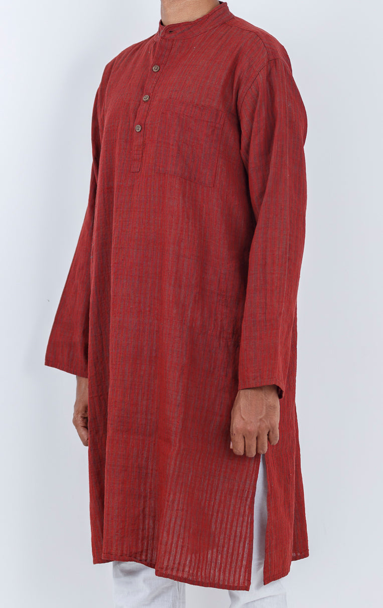 Malkha Natural Dyed Handlooms -GEOMETRIC KURTA : ALIZARIN RED : LONG SLEEVE