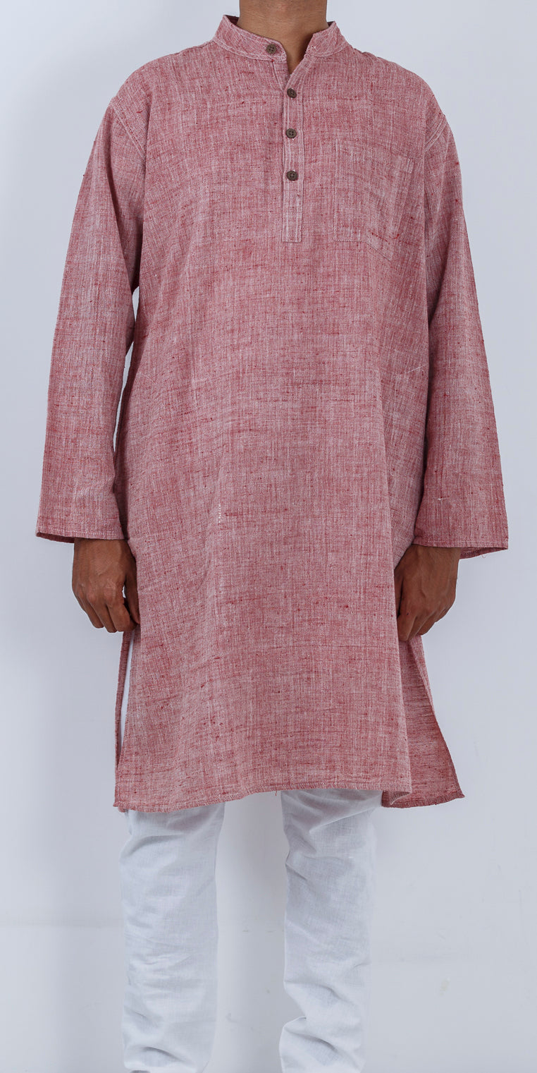 Malkha Natural Dyed Handlooms -CROSS COLOUR KURTA : ALIZARIN RED : KORA : LONG SLEEVE