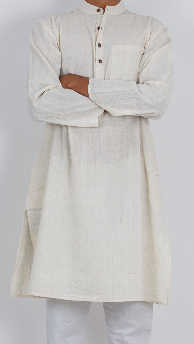Malkha Natural Dyed Handlooms -SOLID KURTA : KORA : LONG SLEEVE