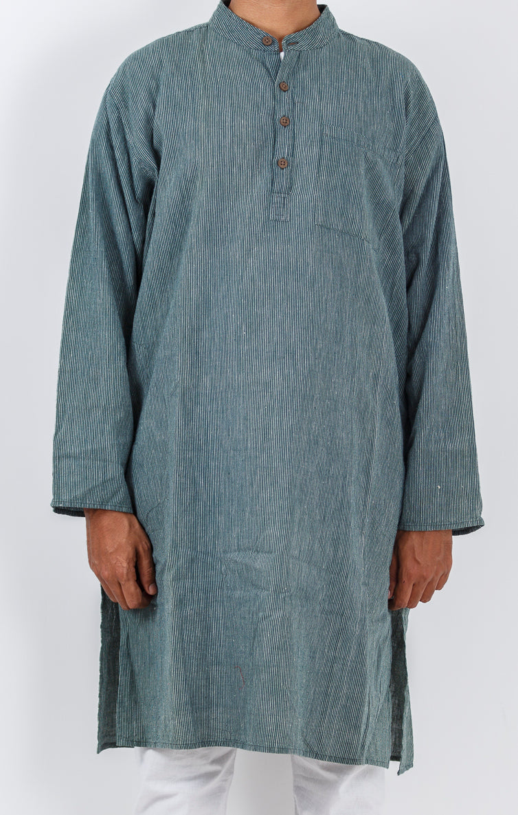Malkha Natural Dyed Handlooms -GEOMETRIC KURTA : DARK INDIGO : KORA : LONG SLEEVE