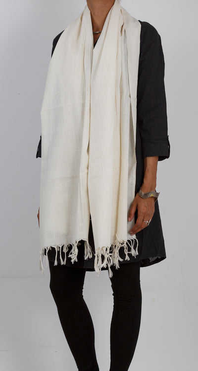 Malkha Natural Dyed Handlooms -SOLID STOLE : KORA