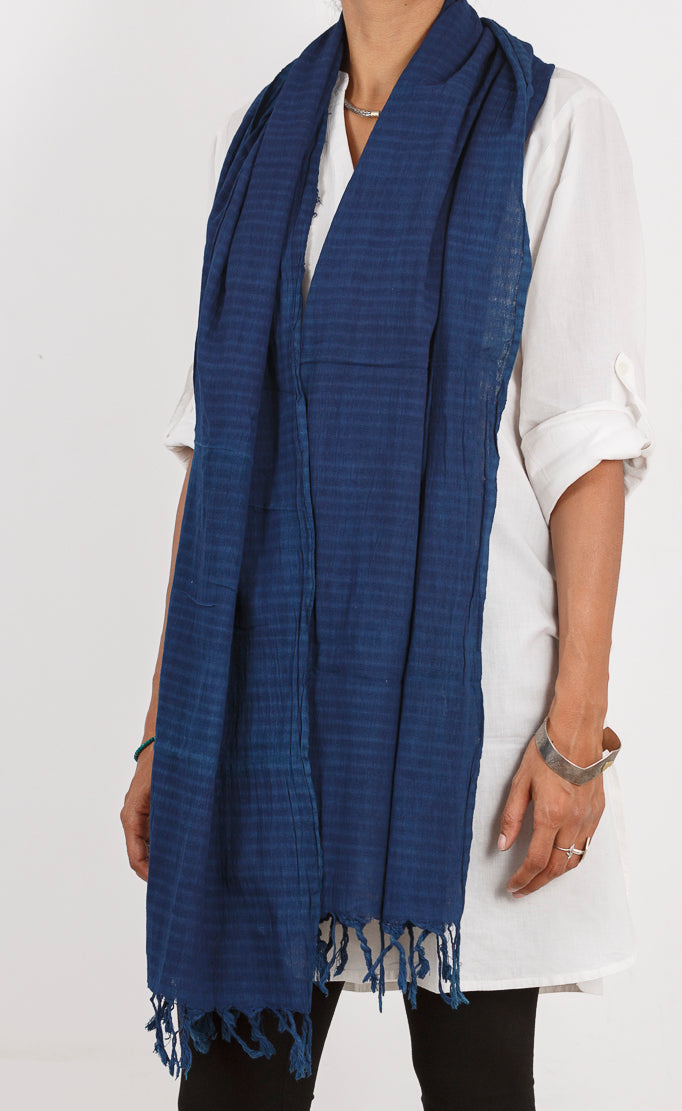 Malkha Natural Dyed Handlooms -GEOMETRIC STOLE : DARK INDIGO