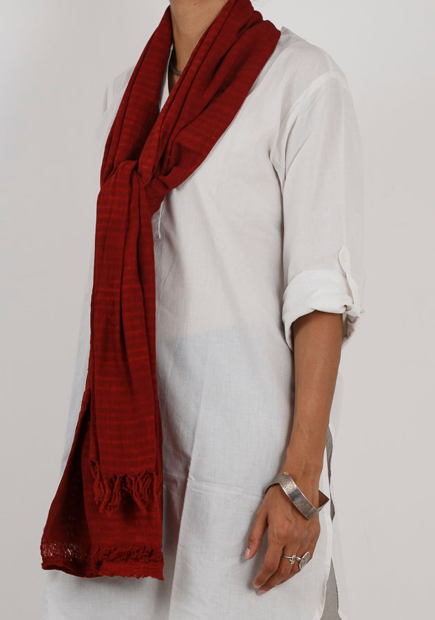 Malkha Natural Dyed Handlooms -GEOMETRIC STOLE : ALIZARIN RED