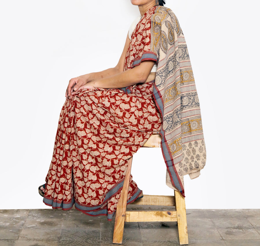 KALAMKARI SAREE : ALIZARIN RED : KORA