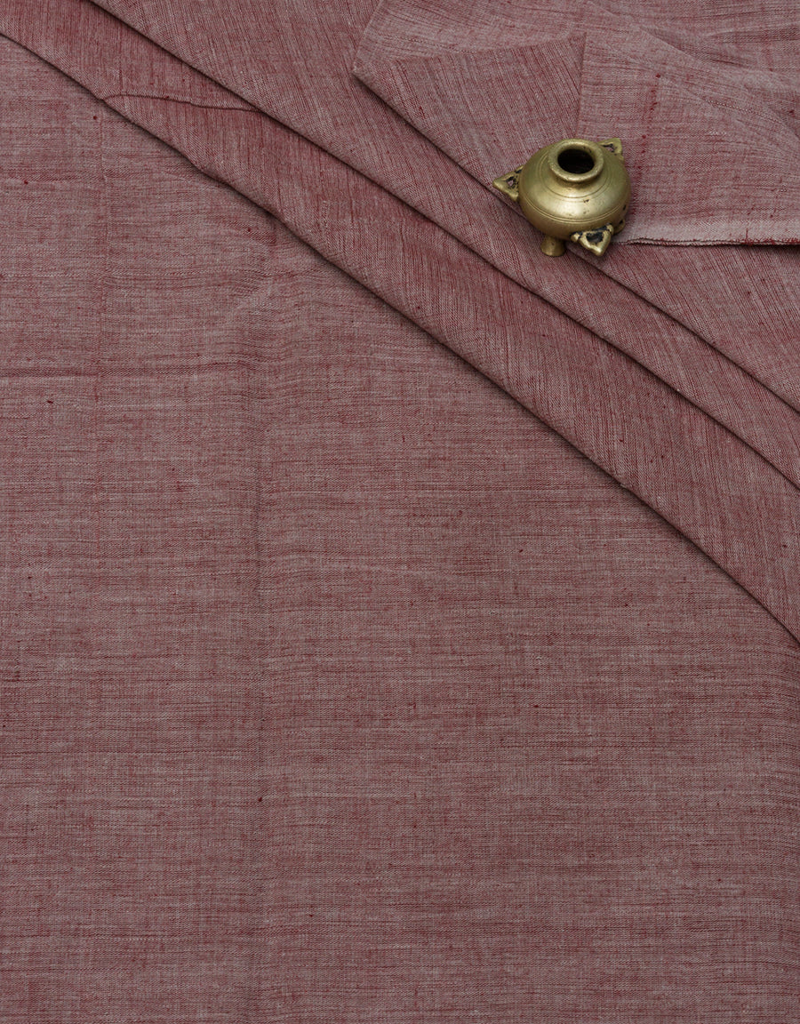 Malkha Natural Dyed Handlooms -CROSS COLOUR FABRIC : ALIZARIN RED : RATANJYOTI DOVE GRAY