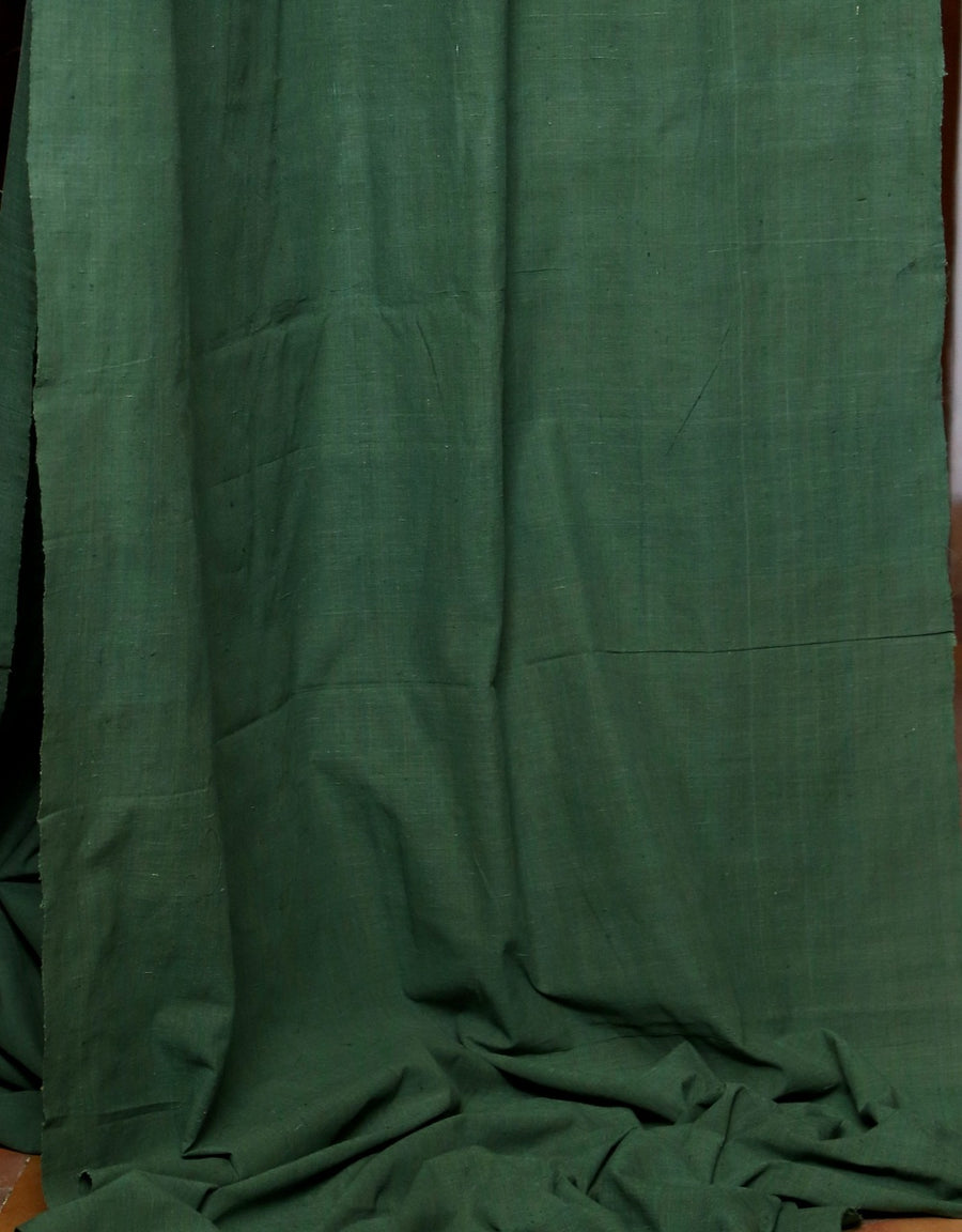 Malkha Natural Dyed Handlooms -SOLID FABRIC : INDIGO GREEN