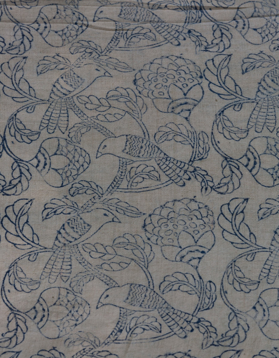 Malkha Natural Dyed Handlooms -KALAMKARI FABRIC : KORA : DARK INDIGO