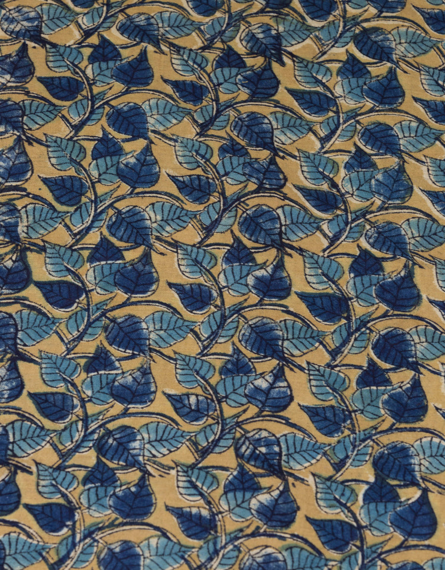 Malkha Natural Dyed Handlooms -KALAMKARI FABRIC : ANAR YELLOW : DARK INDIGO : LIGHT INDIGO