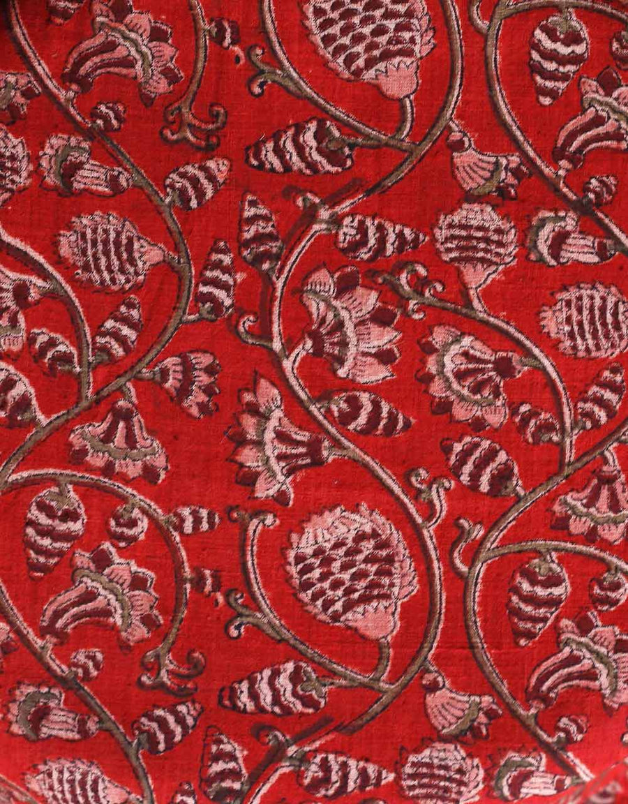 Malkha Natural Dyed Handlooms -KALAMKARI FABRIC : ALIZARIN RED : MANJISHTHA BRICK RED