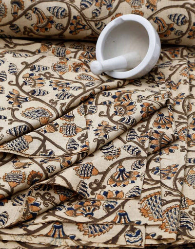 KALAMKARI FABRIC : KORA : ANAR YELLOW : DARK INDIGO