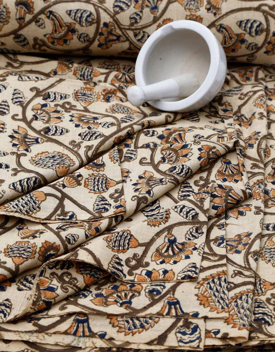Malkha Natural Dyed Handlooms -KALAMKARI FABRIC : KORA : ANAR YELLOW : DARK INDIGO