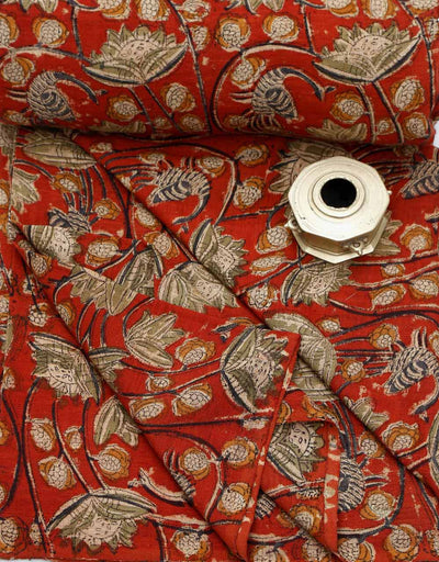 KALAMKARI FABRIC : ALIZARIN RED : ANAR GREEN : DARK INDIGO