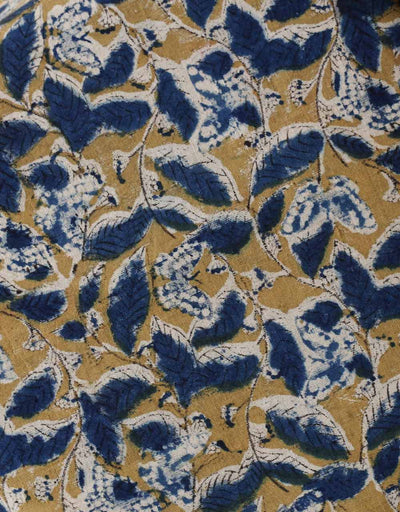 Malkha Natural Dyed Handlooms -KALAMKARI FABRIC : ANAR YELLOW : DARK INDIGO